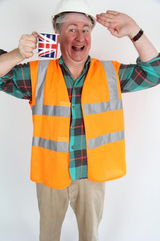 saluting tea drinking worker