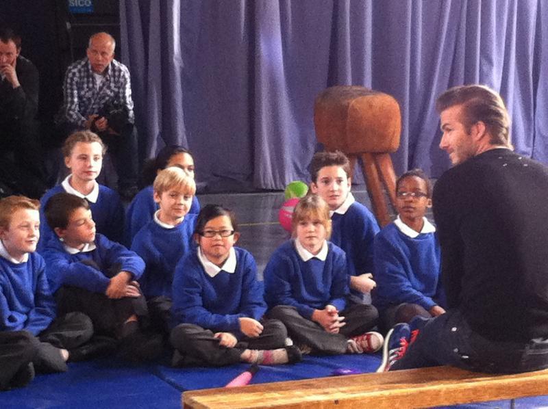 Max on set with David Beckham