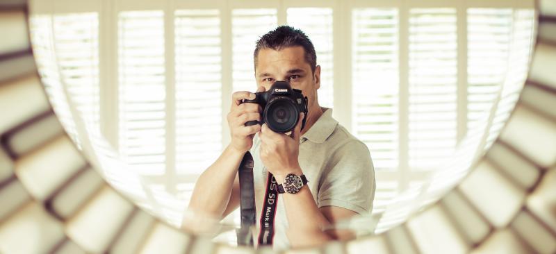 Camera shot in mirror