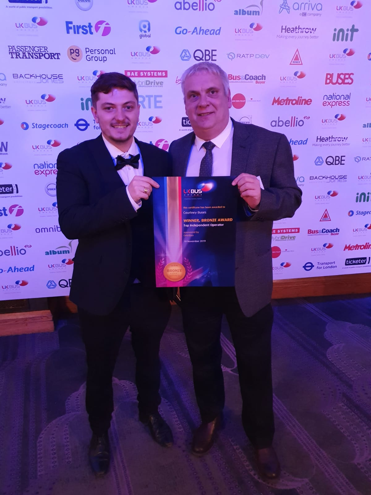 Nick West (Staff Manager) & Stefan Jenkins (Marketing) with our Bronze Award