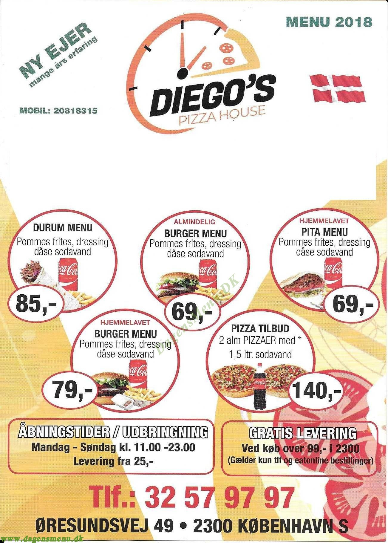 Diegos Pizza House - Menukort