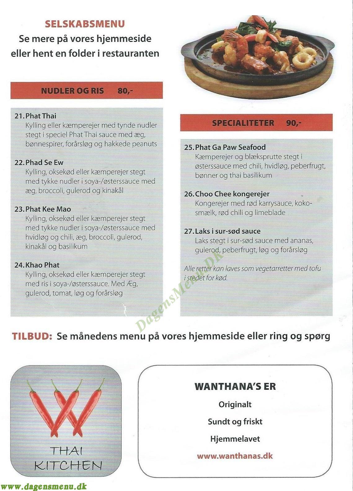 Wanthanas Thai Kitchen - Menukort