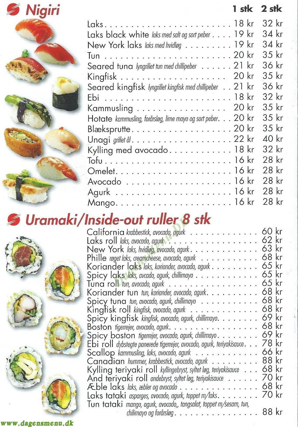 Nikko Sushi Amagerbrogade, - Menukort