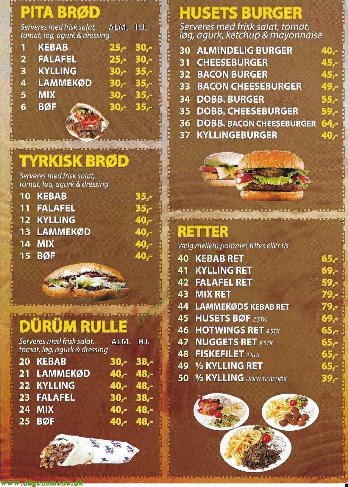 Amager City Kebab - Menukort