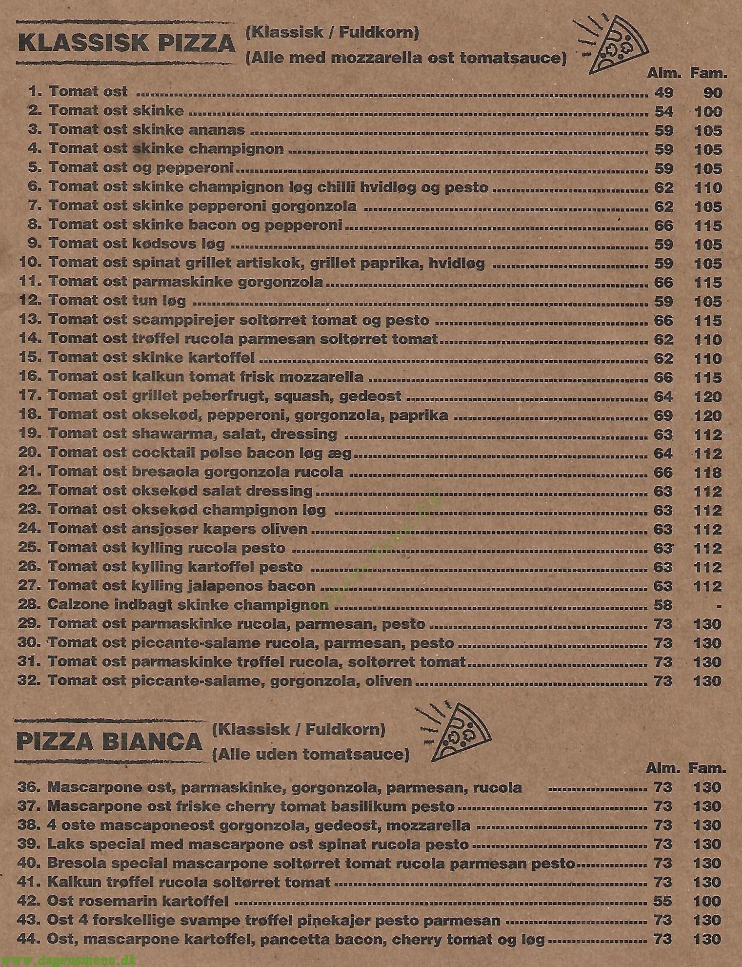 Venezia Pasta House - Menukort