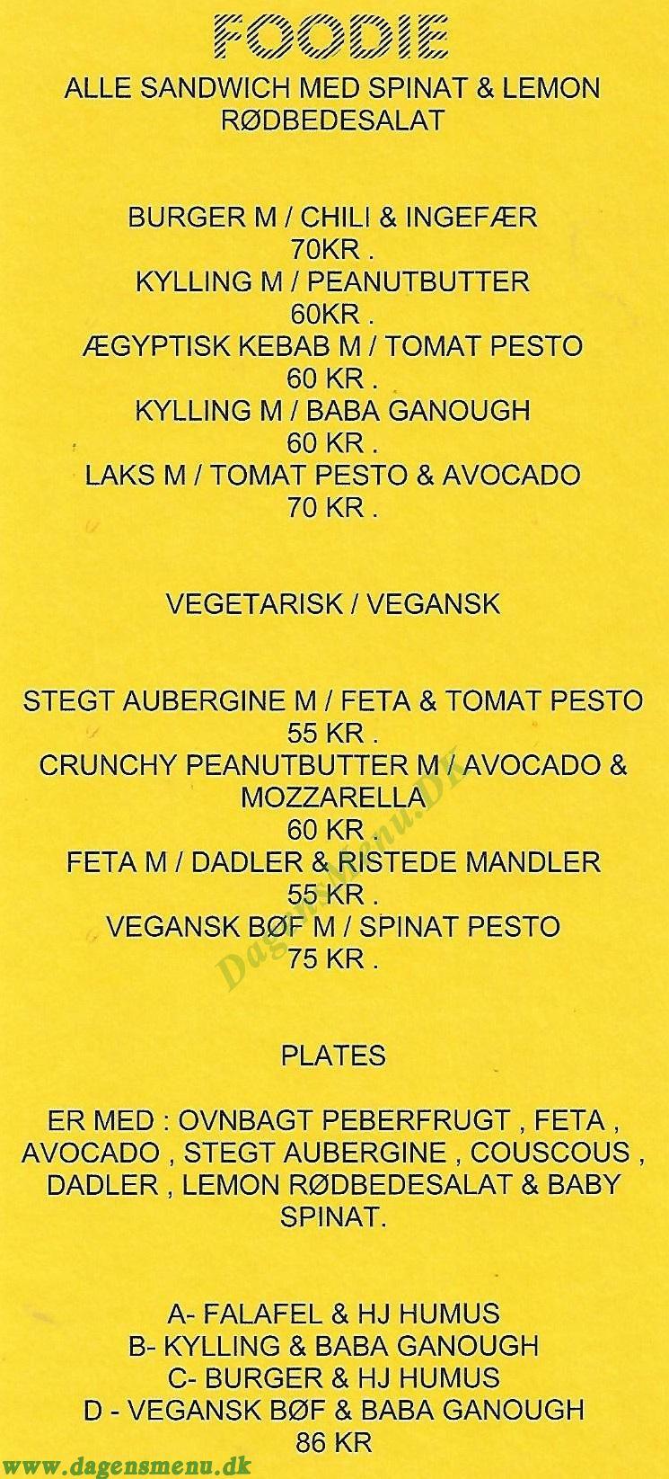 Foodie Amager - Menukort