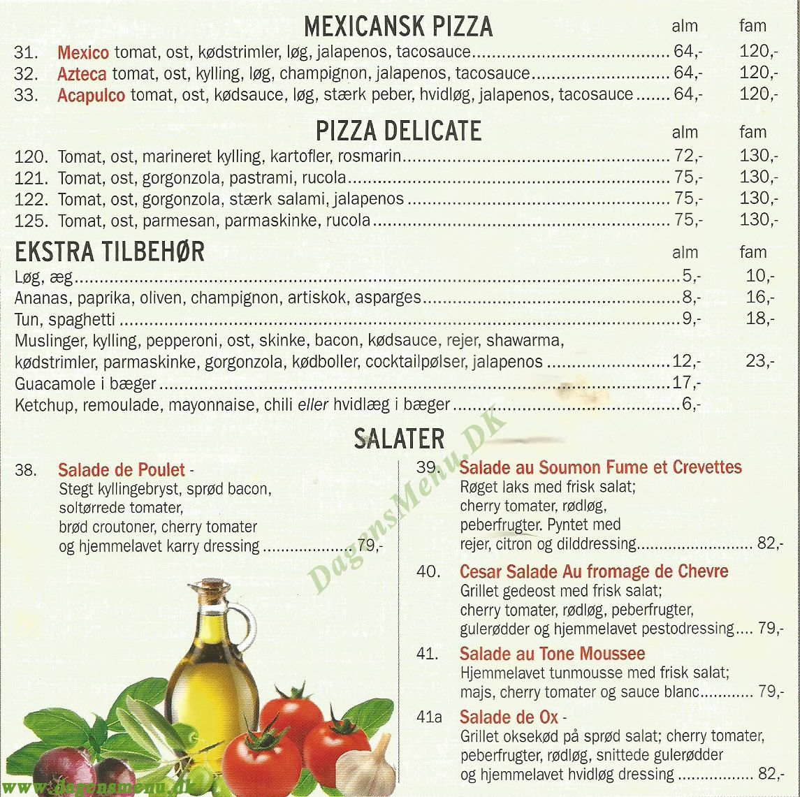 Xanthos Pizza Restaurant - Menukort