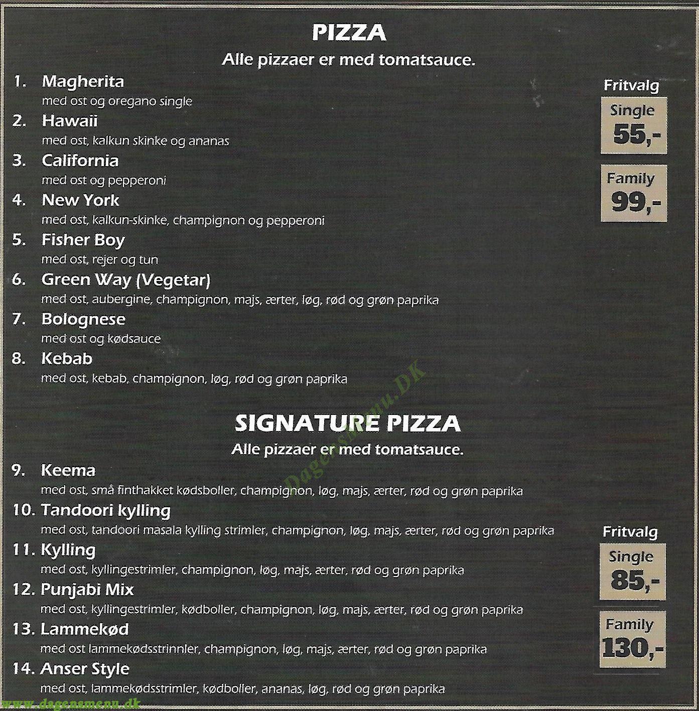Columbia Pizza Glostrup - Menukort