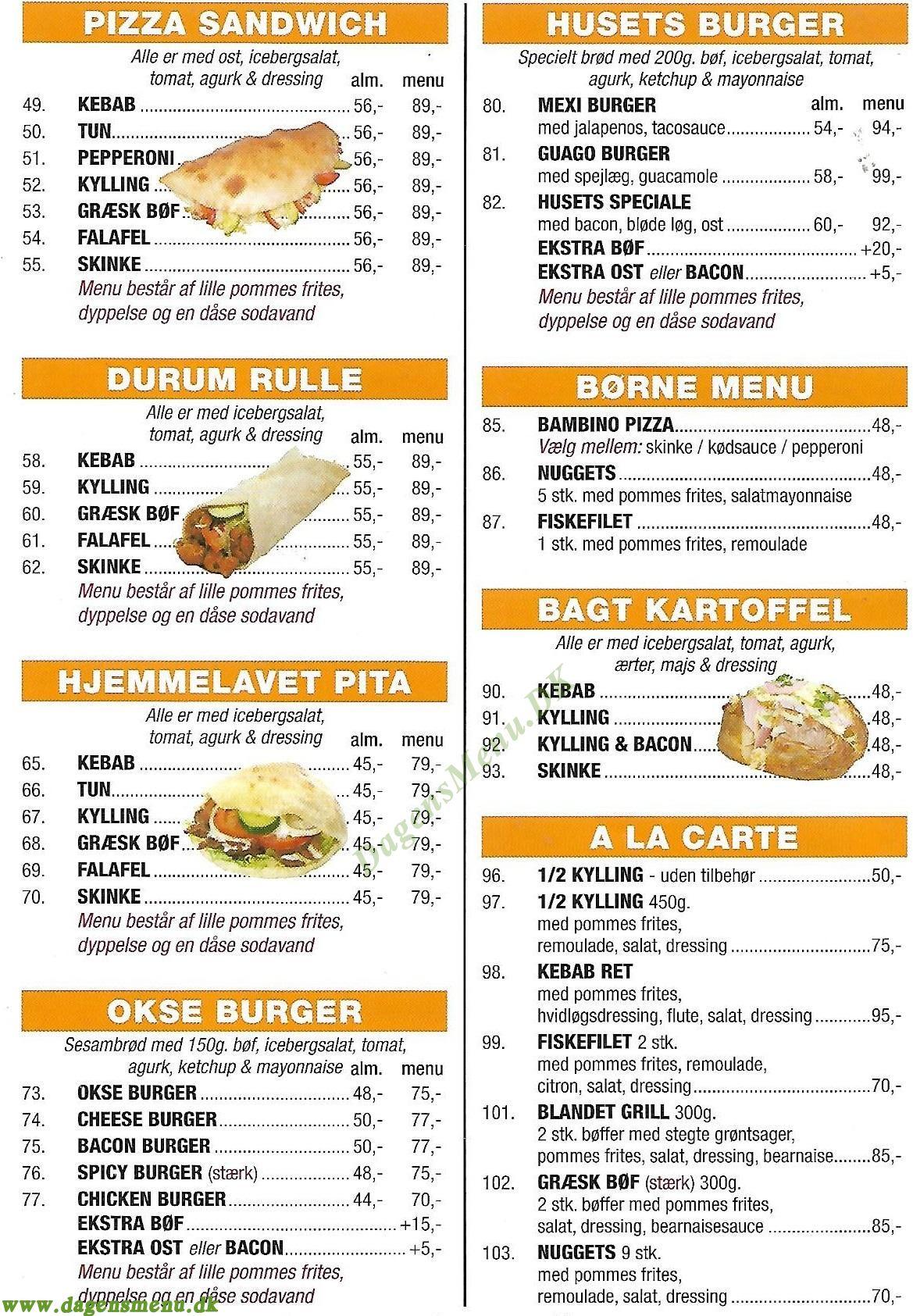 Napoli Pizza & Burger House - Menukort