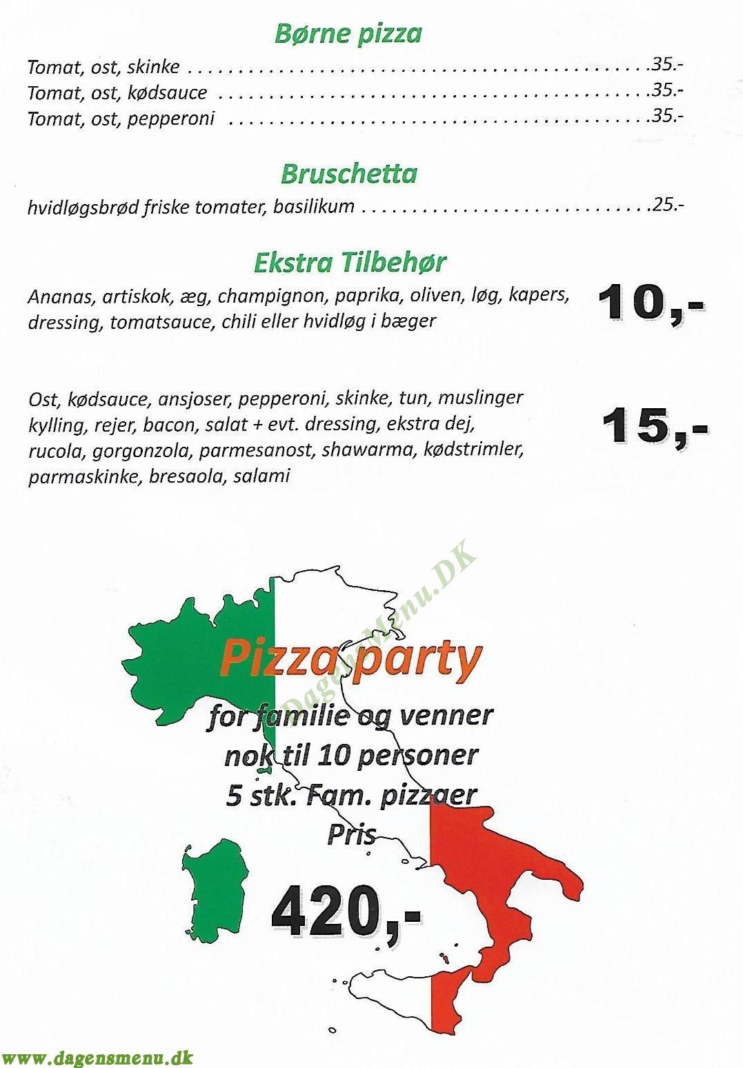 Pizzeria Pescara - Menukort