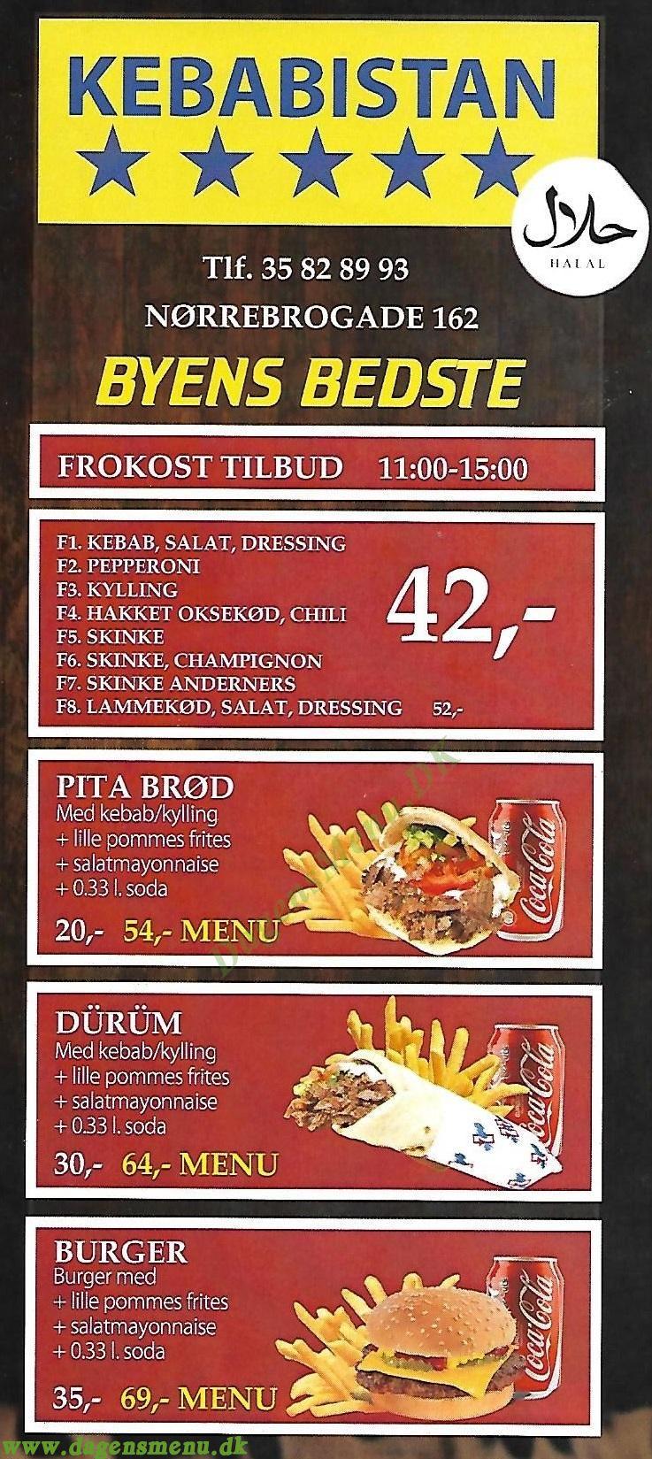 KEBABISTAN Halal Shawarma - Menukort