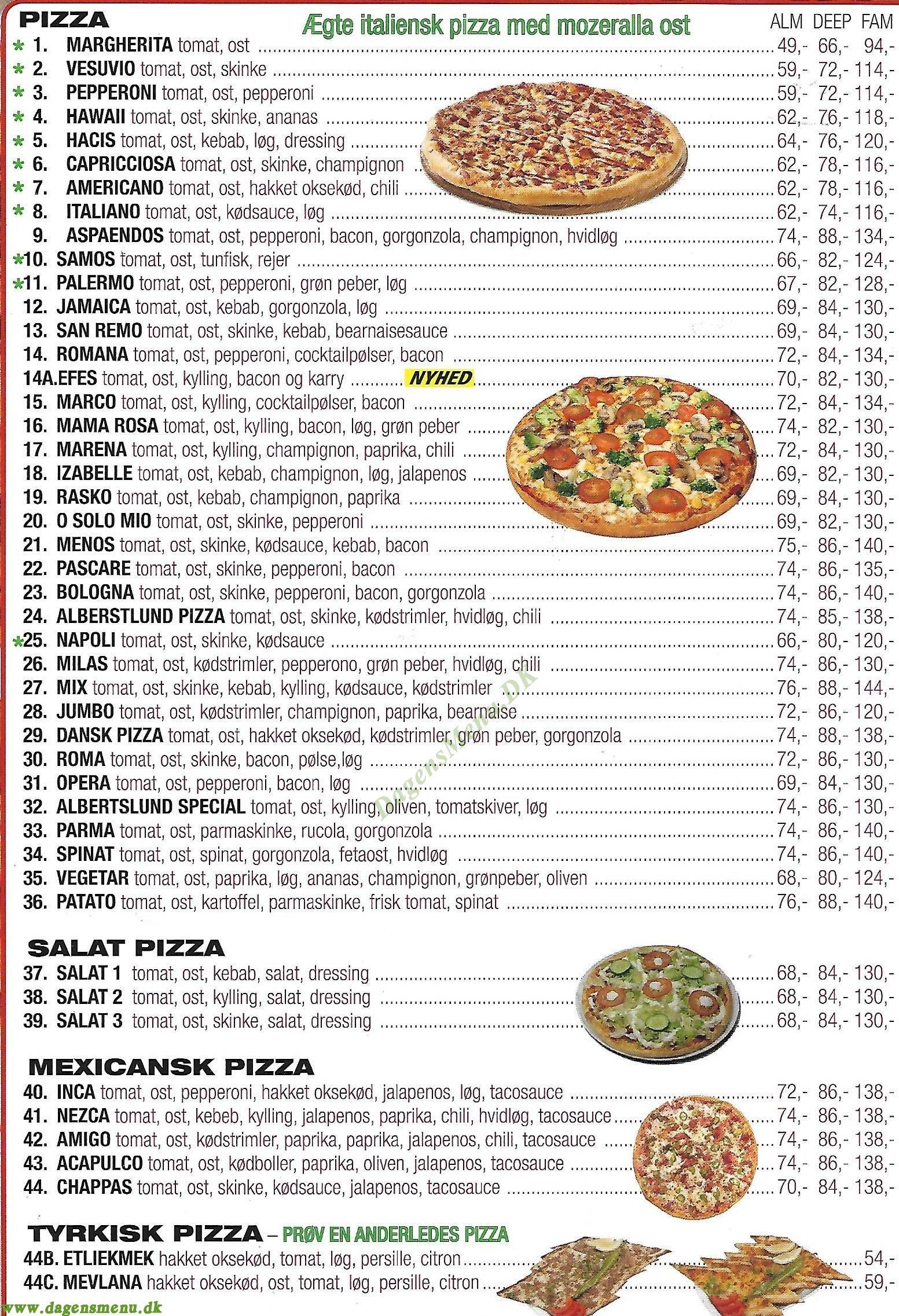 Albertslund Grill & Pizza - Menukort