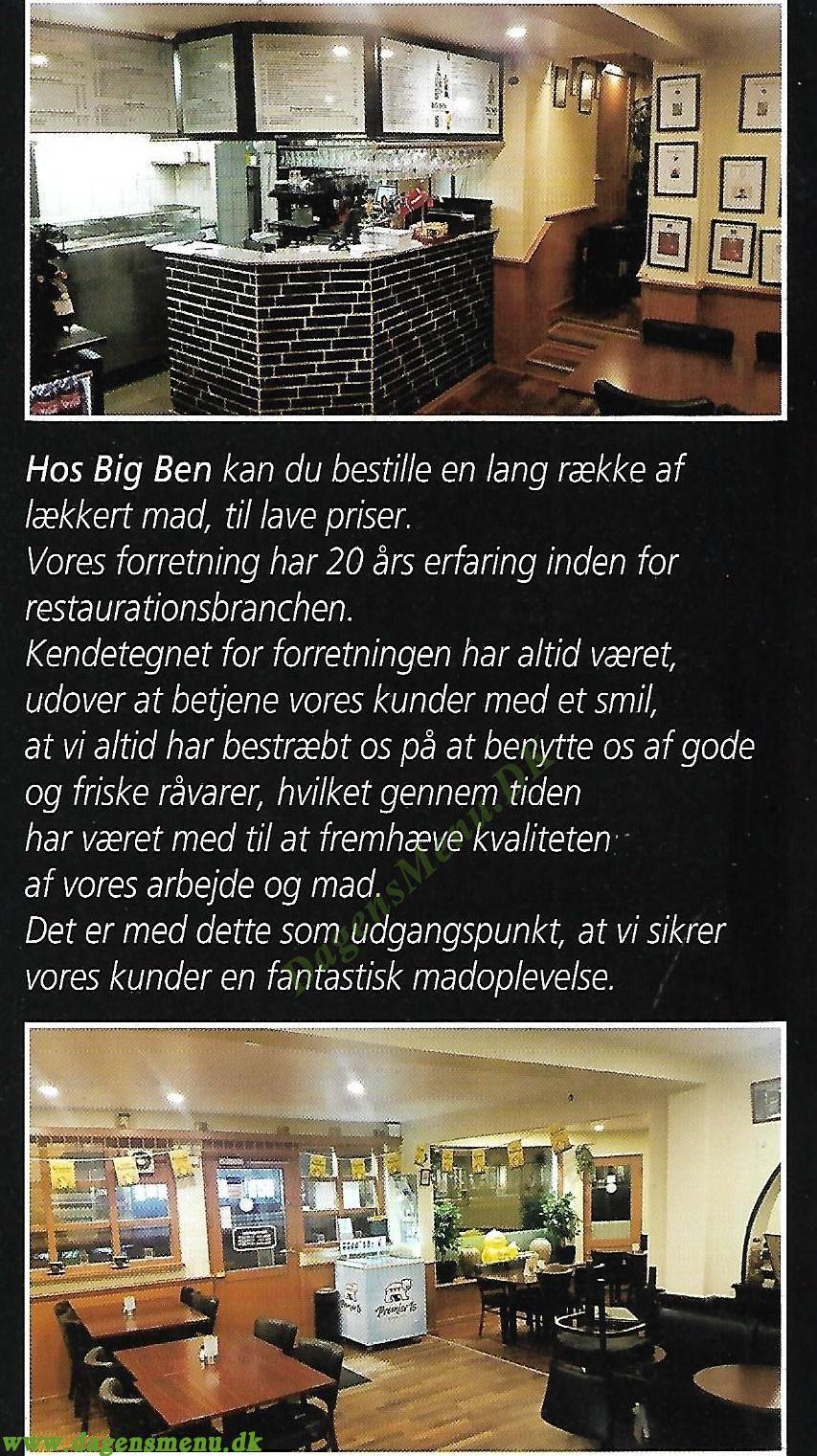 Big Ben Cafe & Restaurant - Menukort