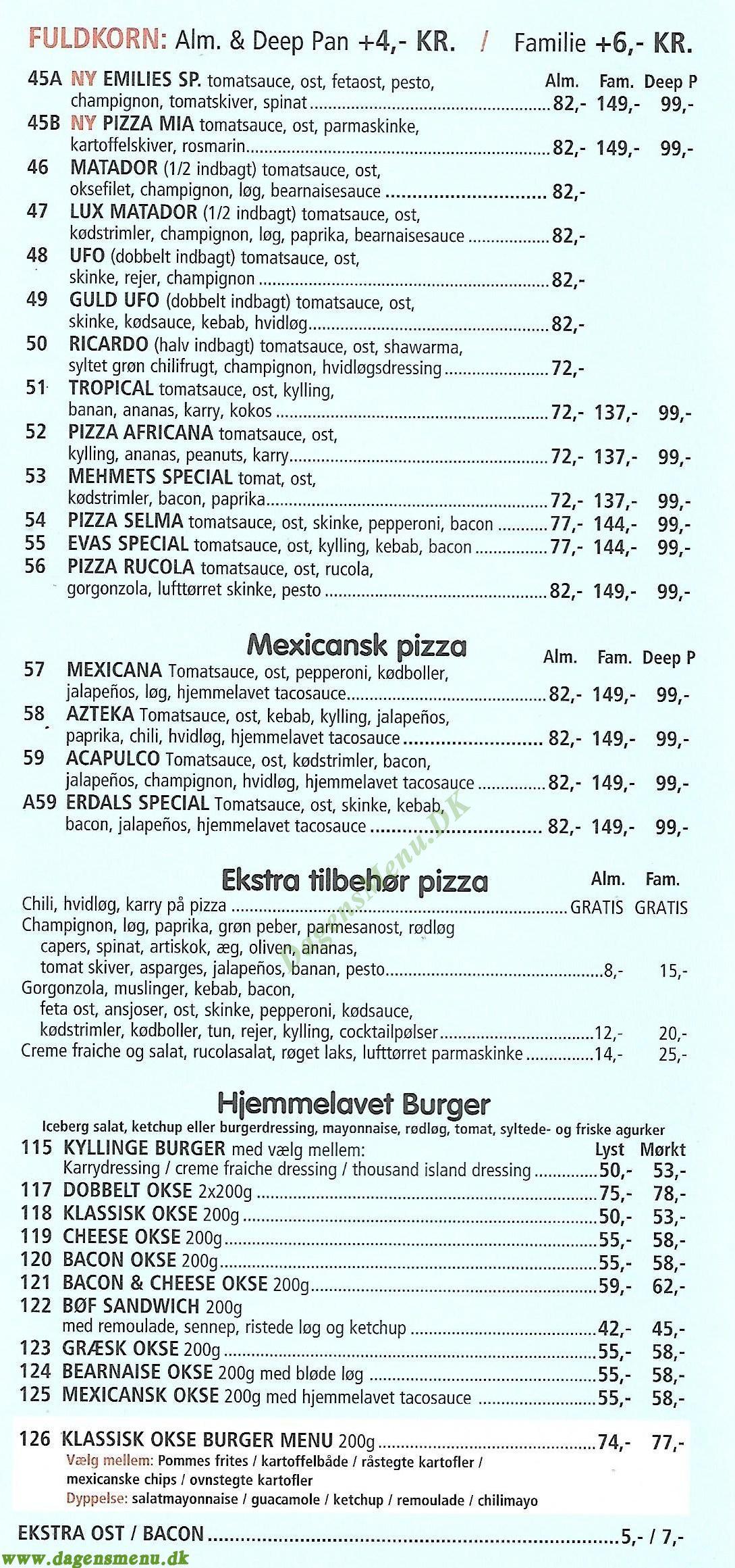 Big Ben Pizza Restaurant - Menukort