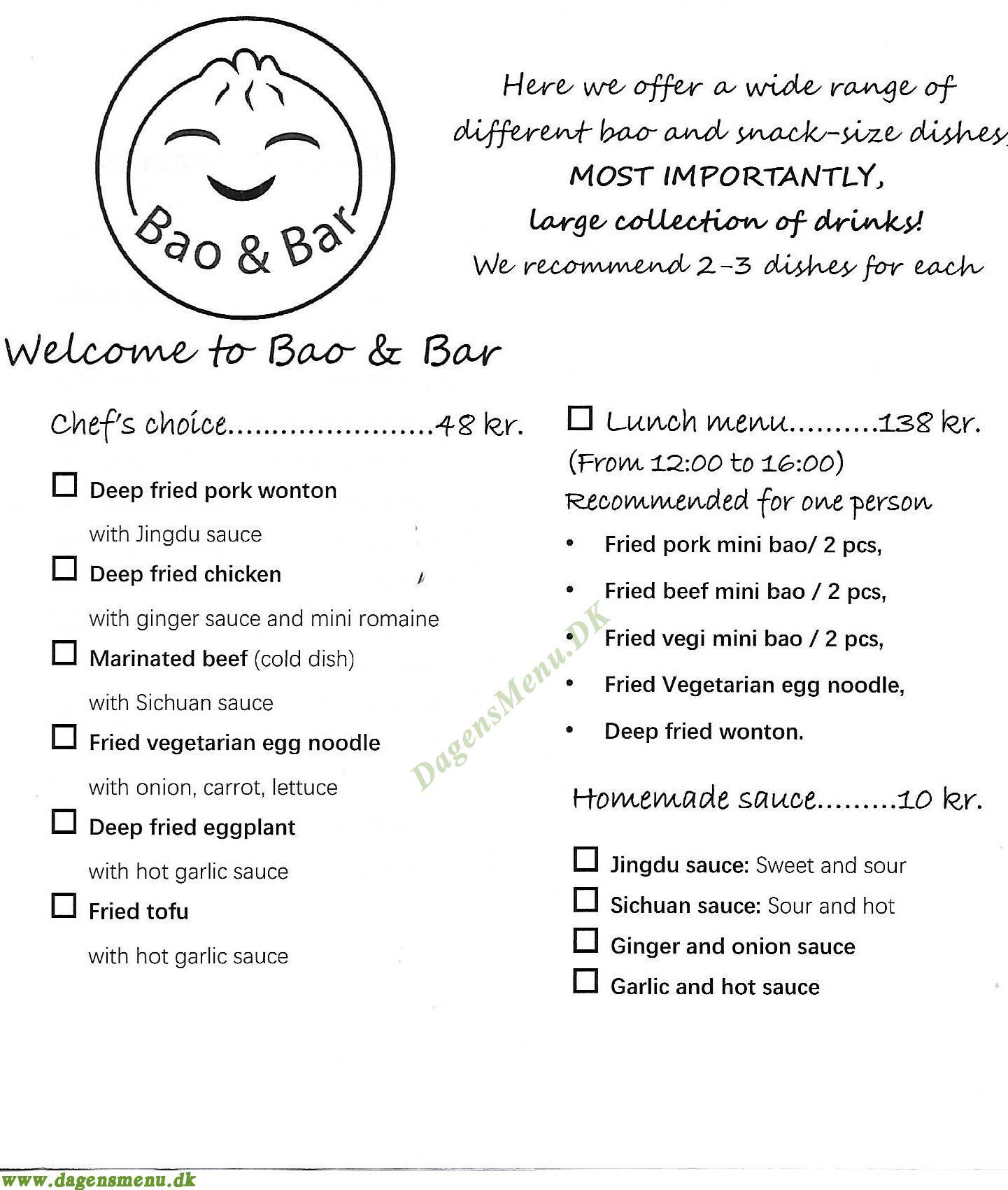 Bao & Bar - Menukort