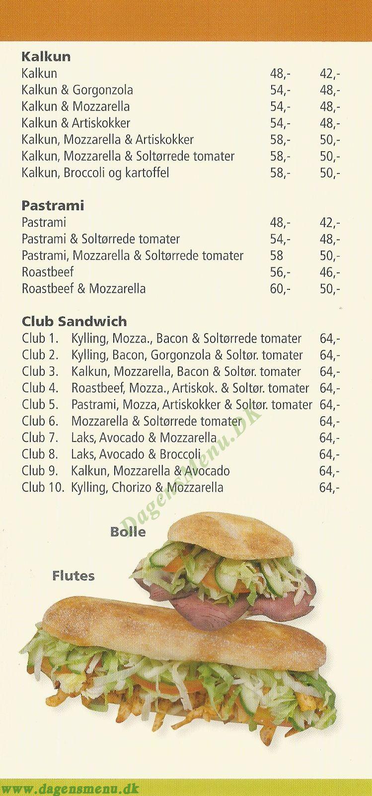 Rosetta Sandwiches - Menukort