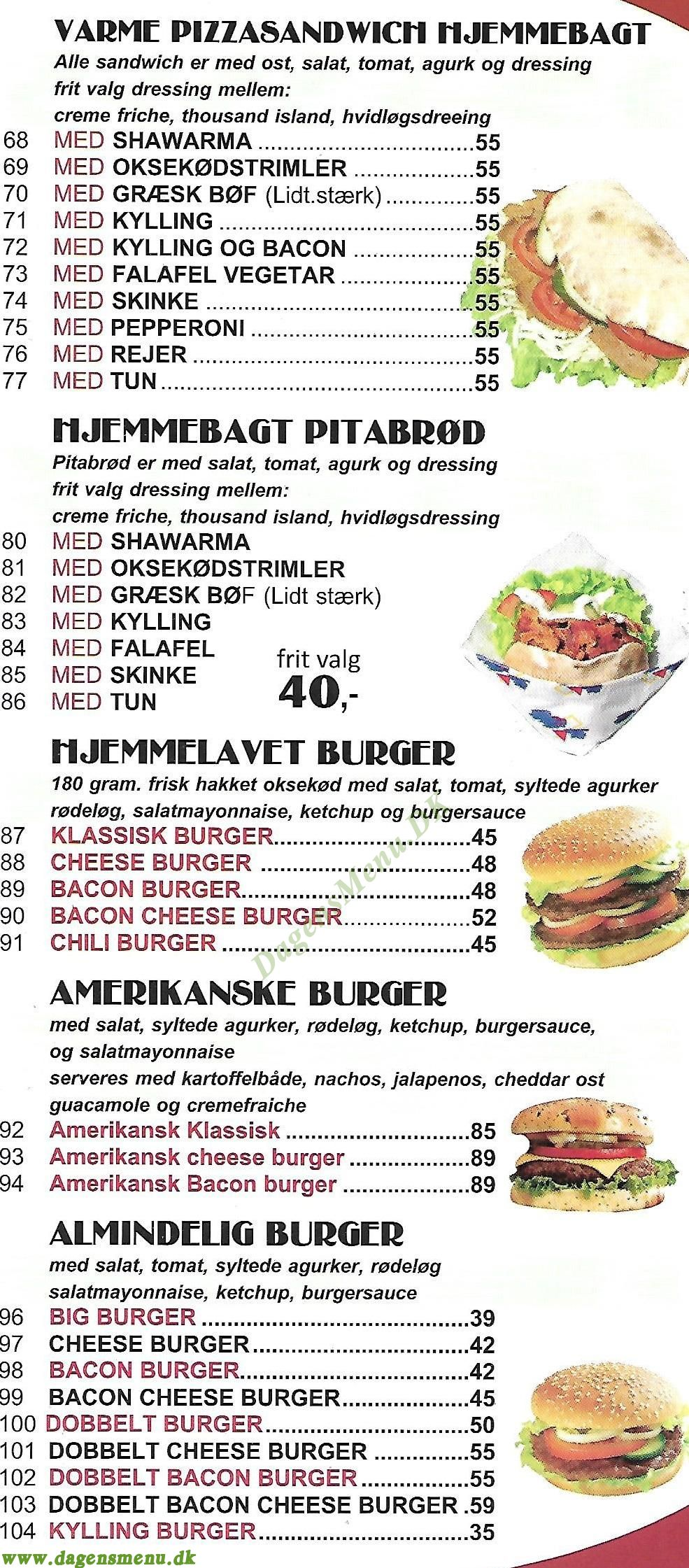Søborg Pizza & Grillbar - Menukort