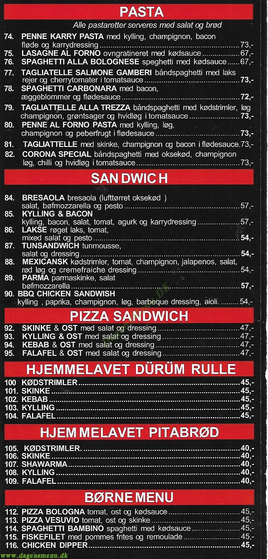 Corona Pizza - Menukort