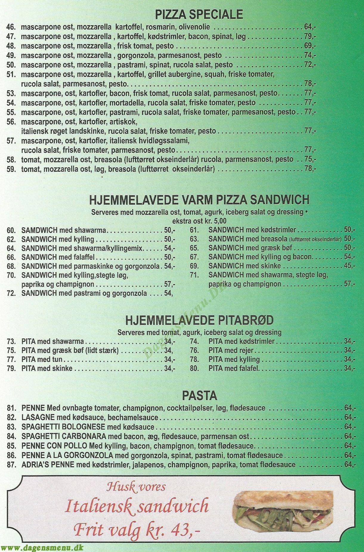 ADRIA PIZZA - Menukort