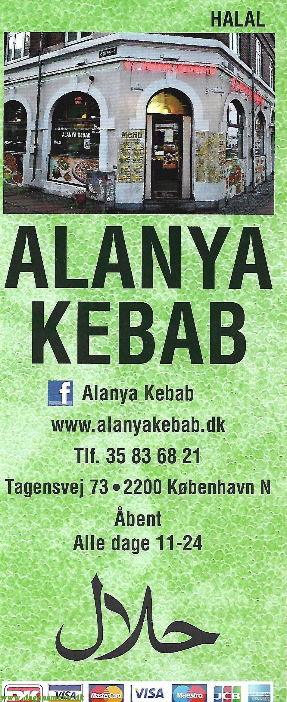 Alanya Kebab Tagensvej - Menukort