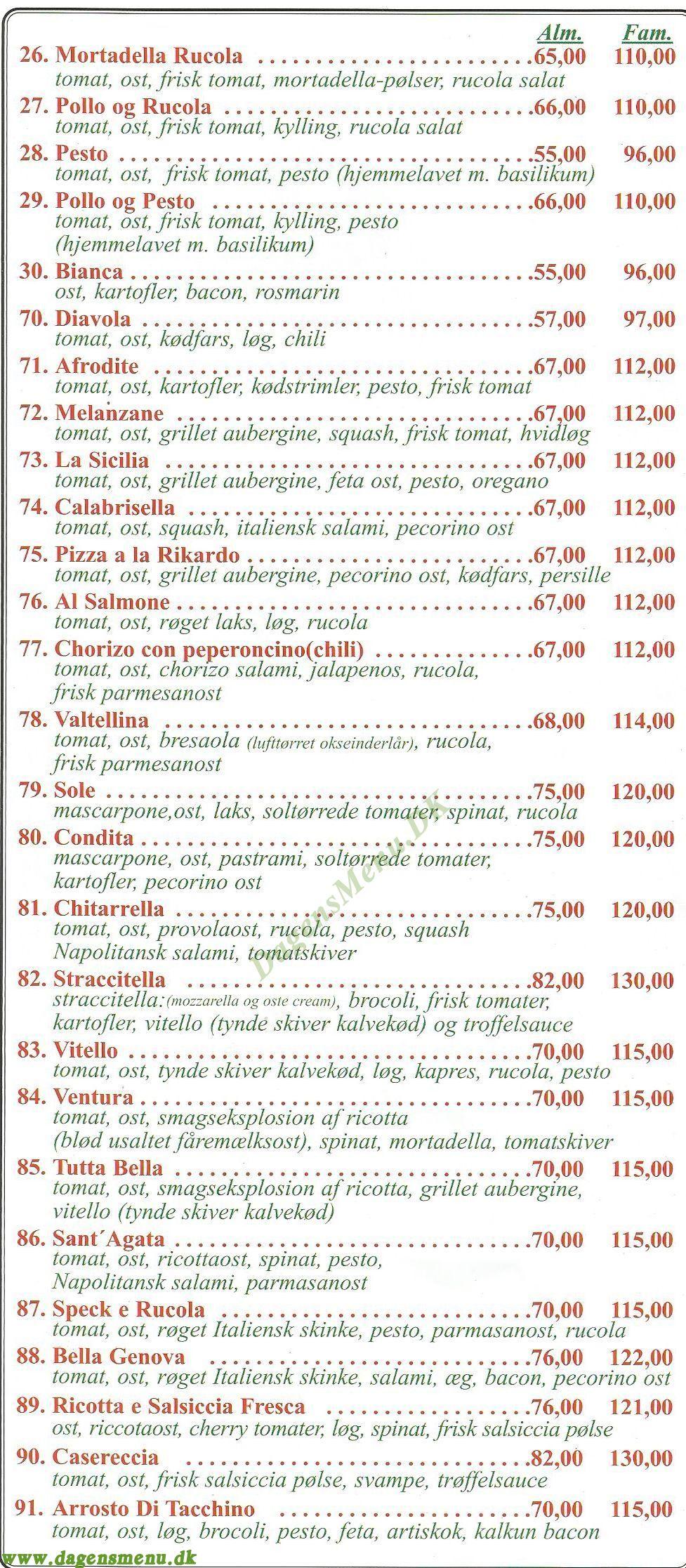 Gastronomia Pizzaria - Menukort