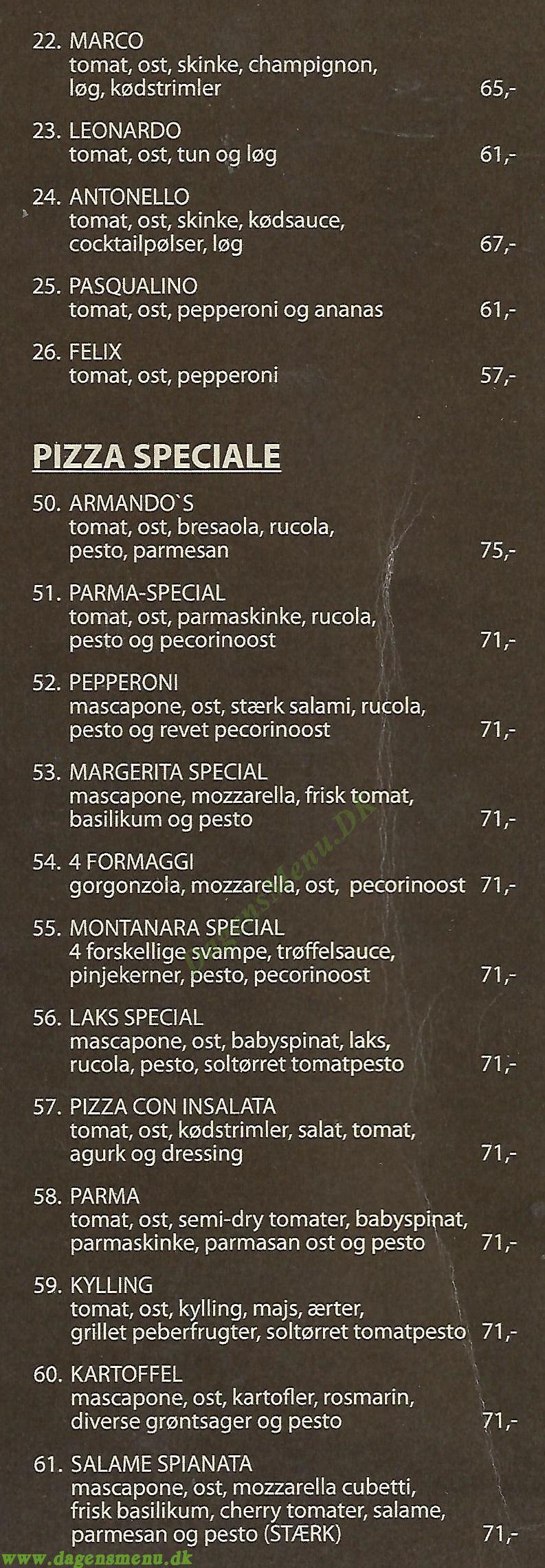 Armando's Pizza - Menukort