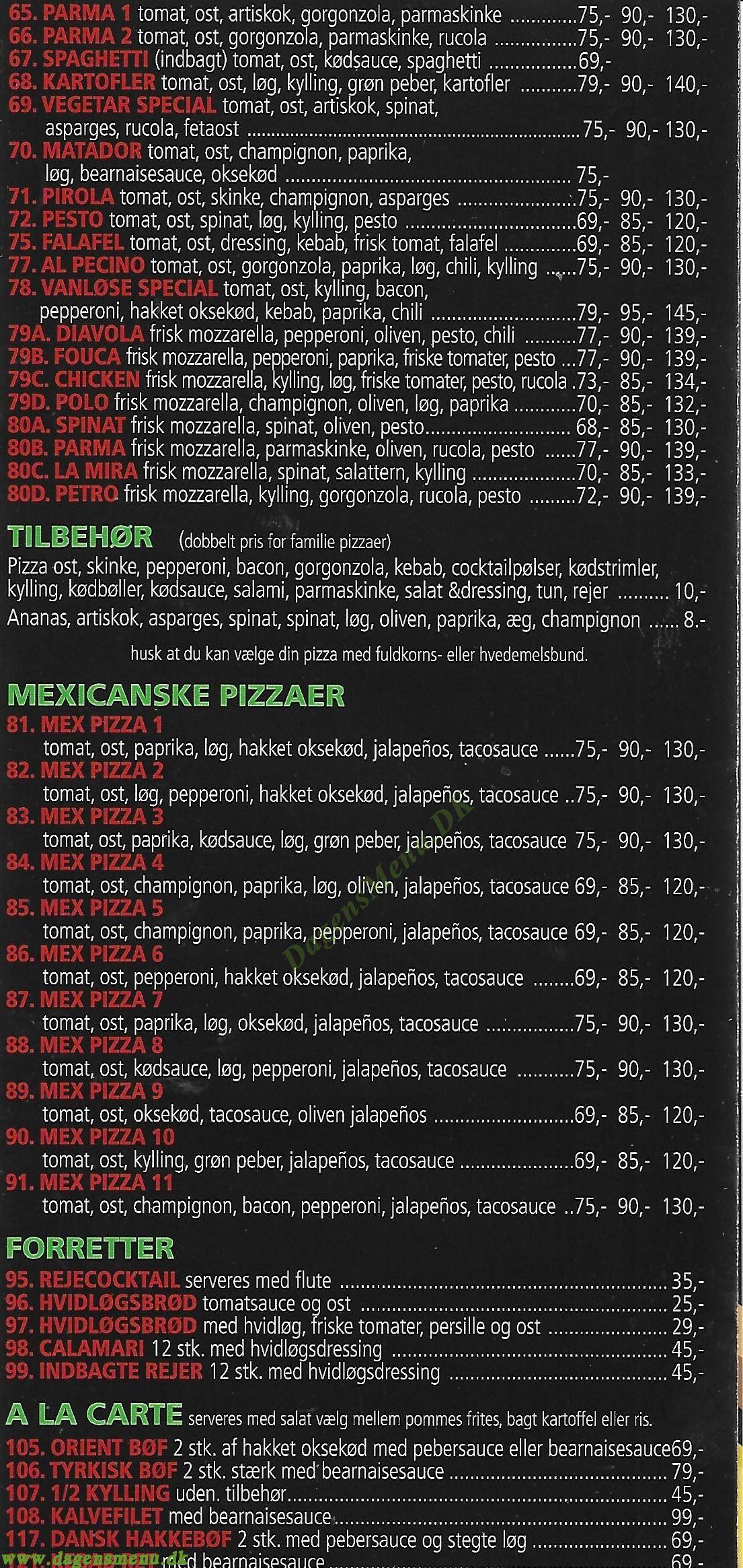 Vanløse Pizzaria - Menukort