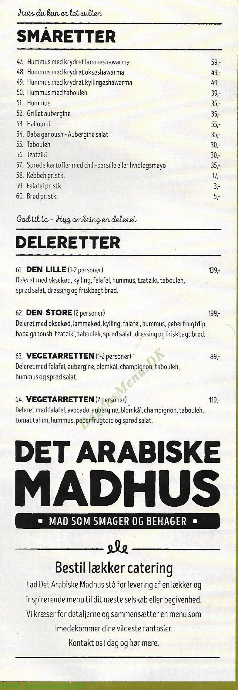Ahaaa Arabic Cuisine - Menukort