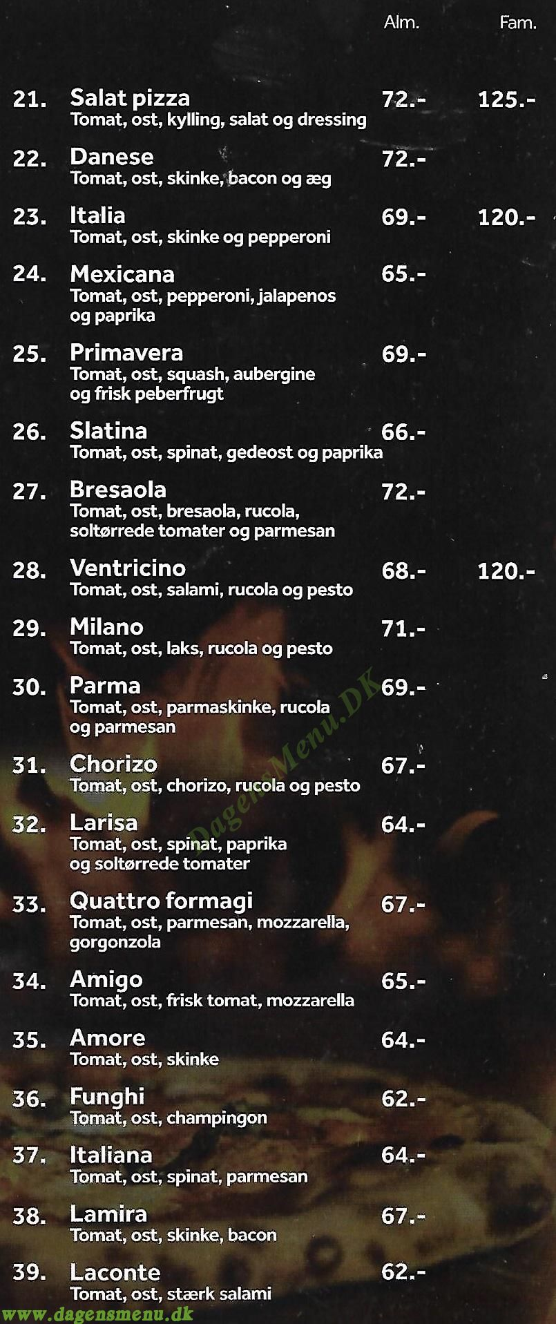 CAFE PHØNIX PIZZA - Menukort