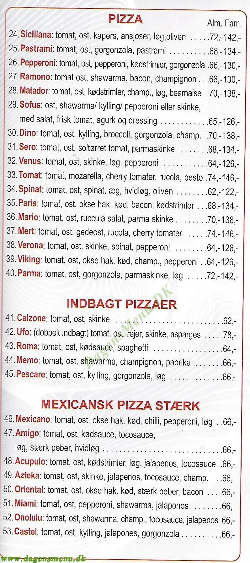 Umuts Pizza House - Menukort