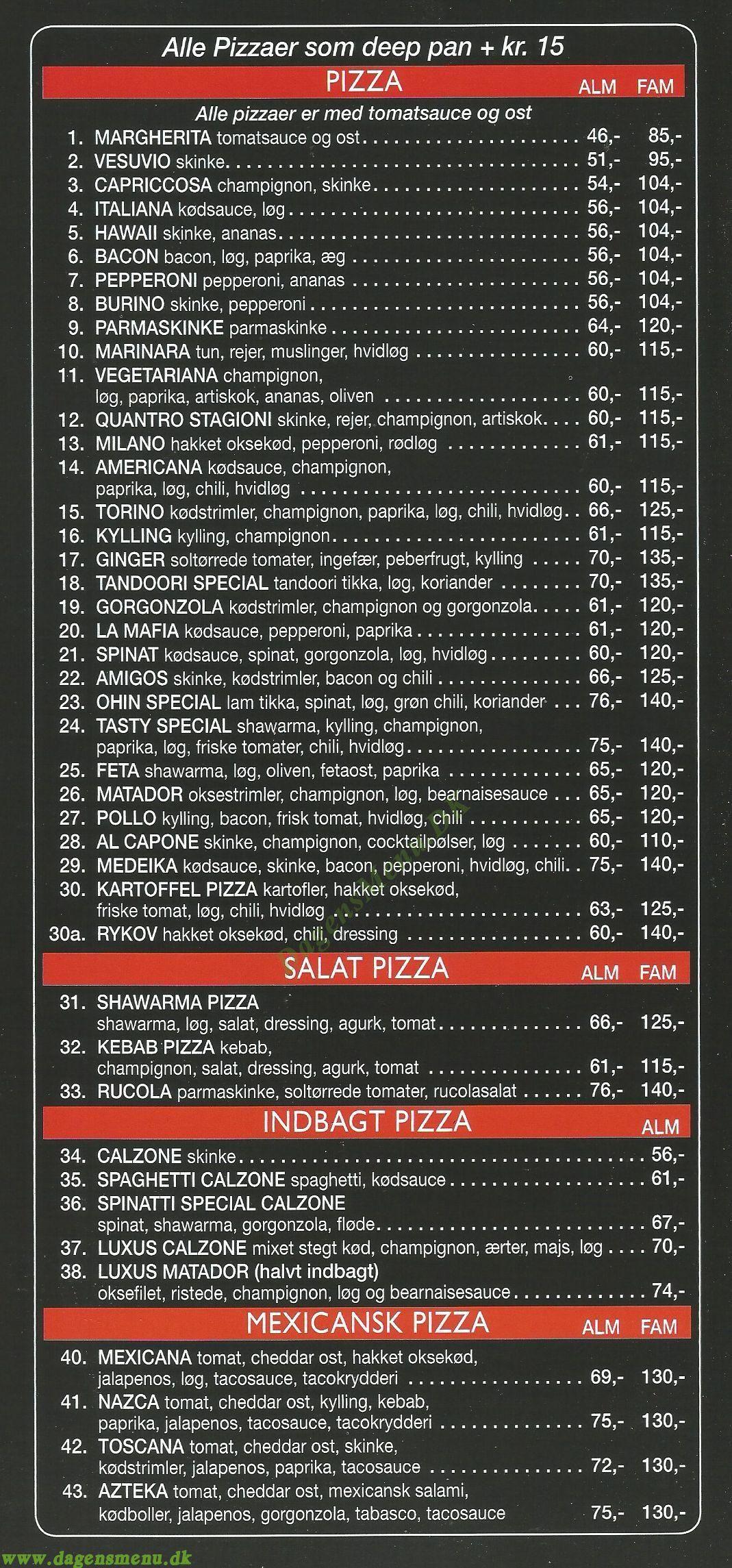 TASTY BITE PIZZA - Menukort