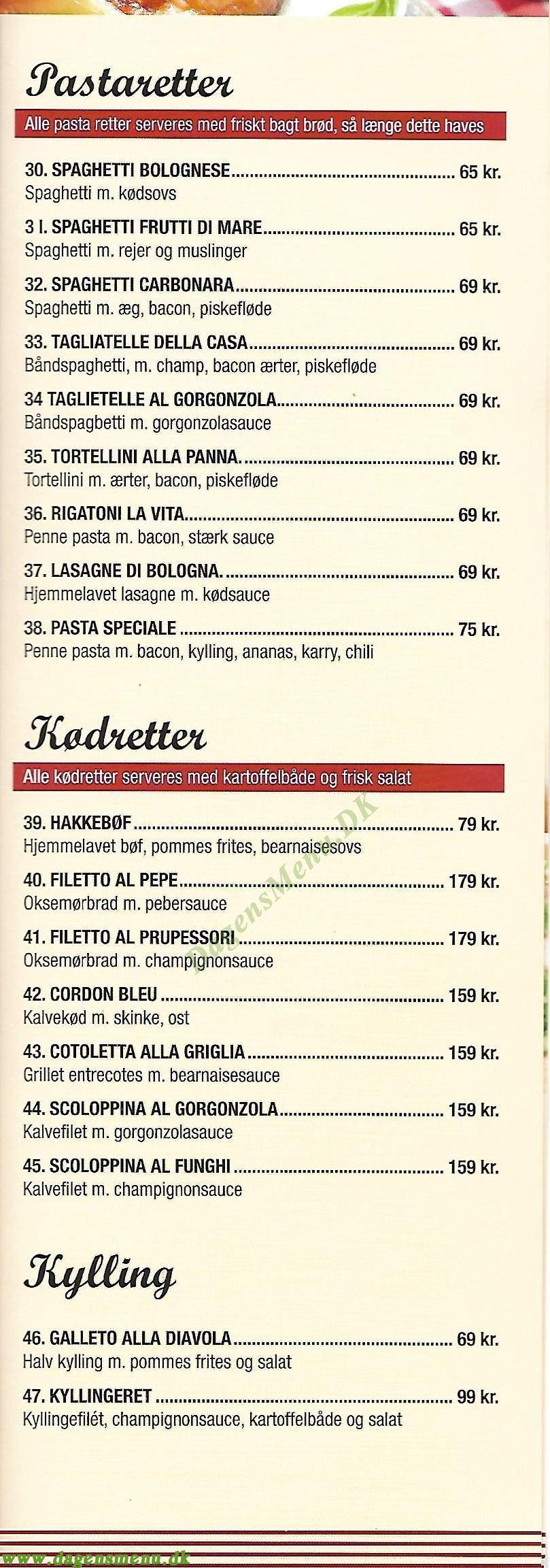 La Vita Pizza & Ristorante - Menukort
