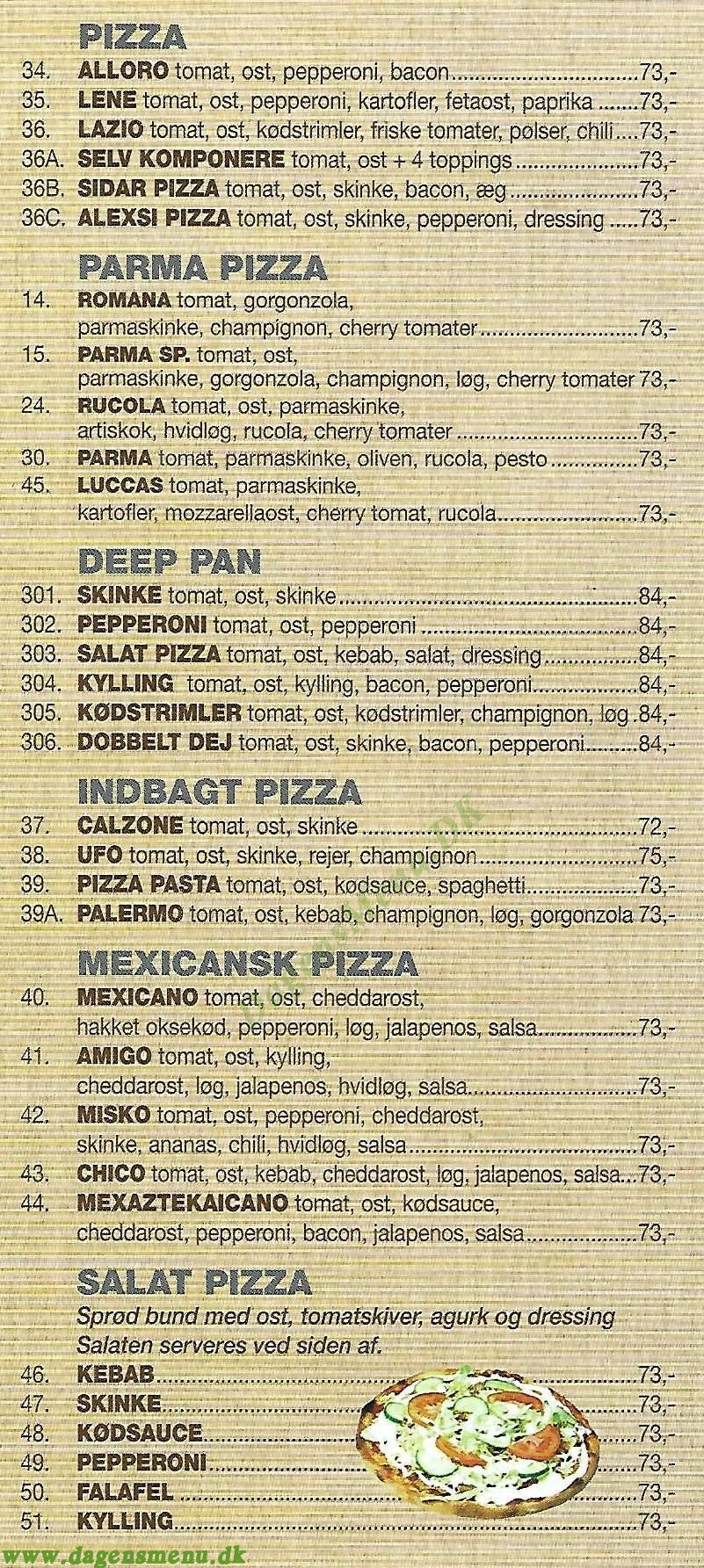 Jernbane Pizza Durum Kebab House - Menukort