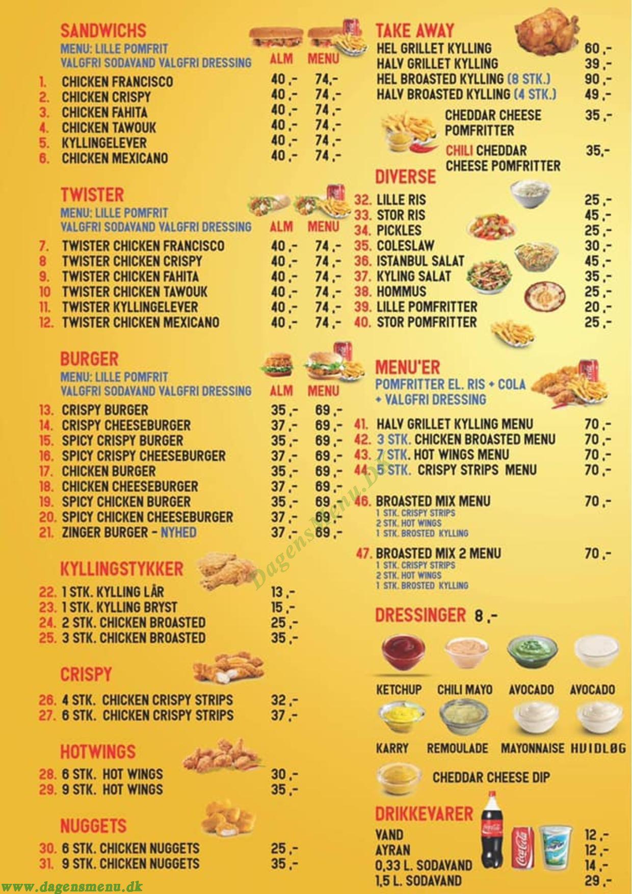 IFC Istanbul Chicken - Menukort