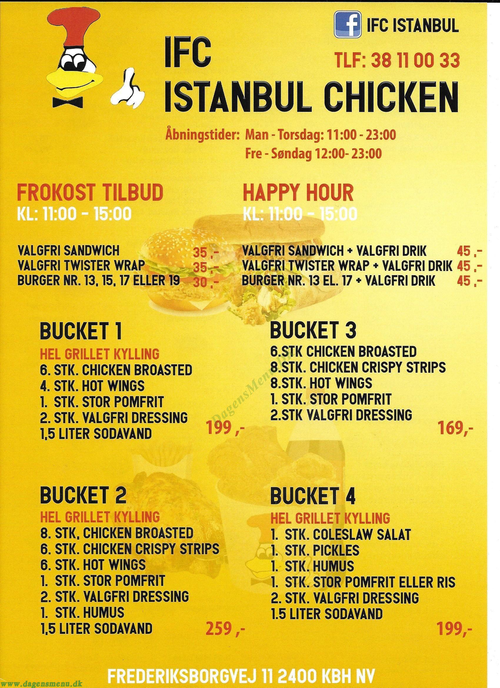IFC Istanbul Chicken Menukort