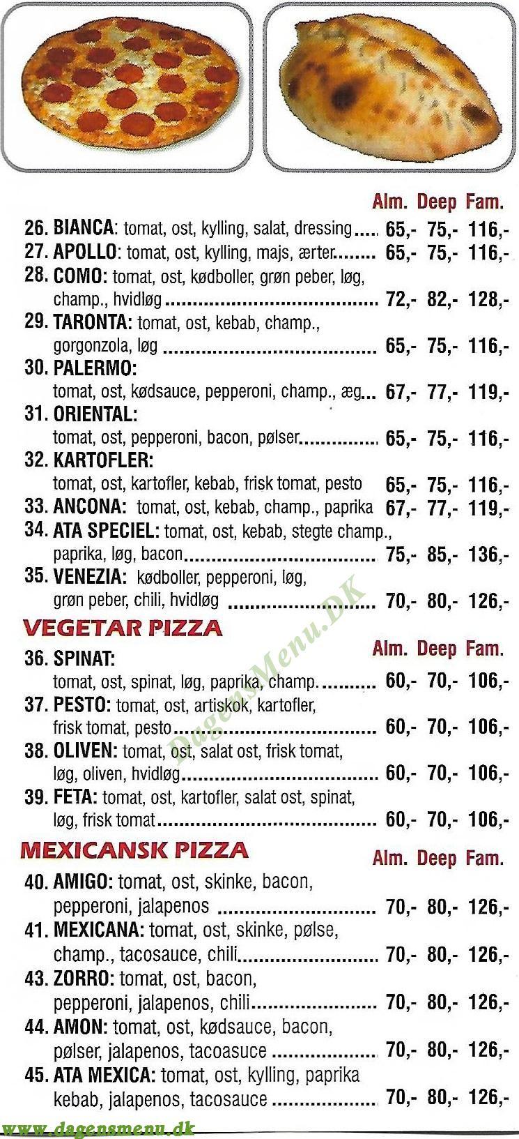 ATA Pizza & Kebab House - Menukort