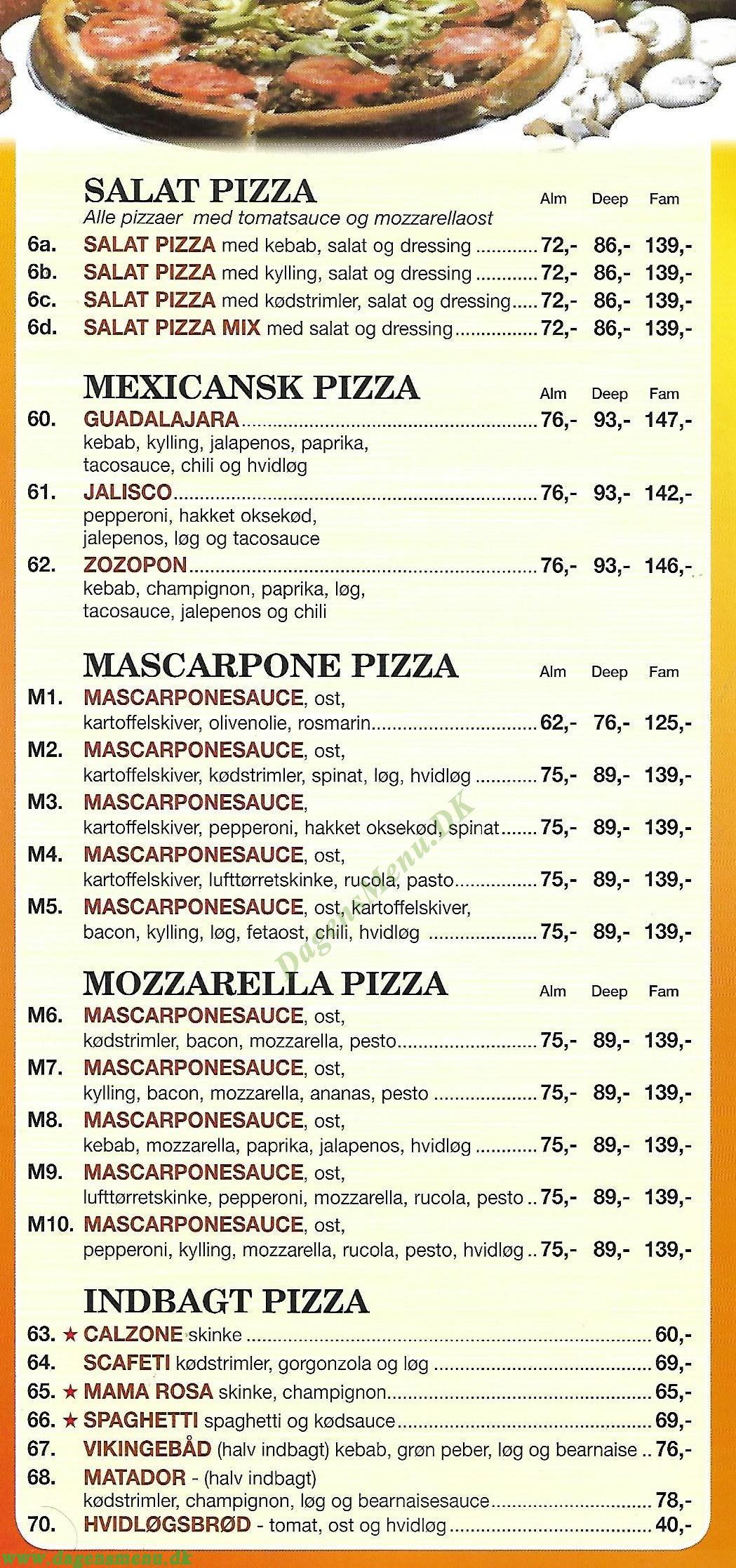 Fiorentina Pizza & Grill - Menukort