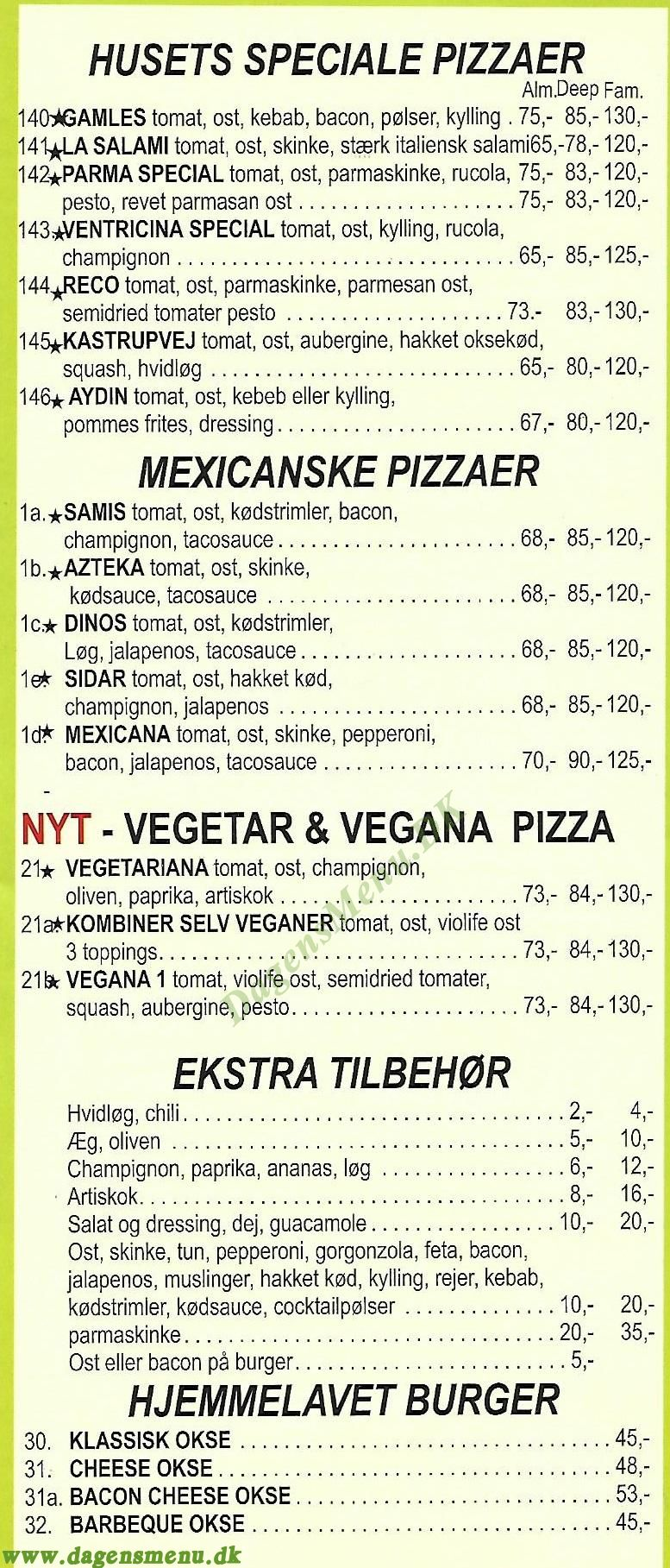 Skottegårdens Pizza & Burger House - Menukort