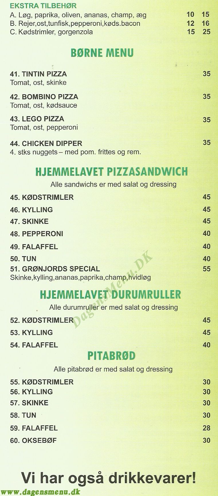 Grønjords Pizza og Grill Bar - Menukort