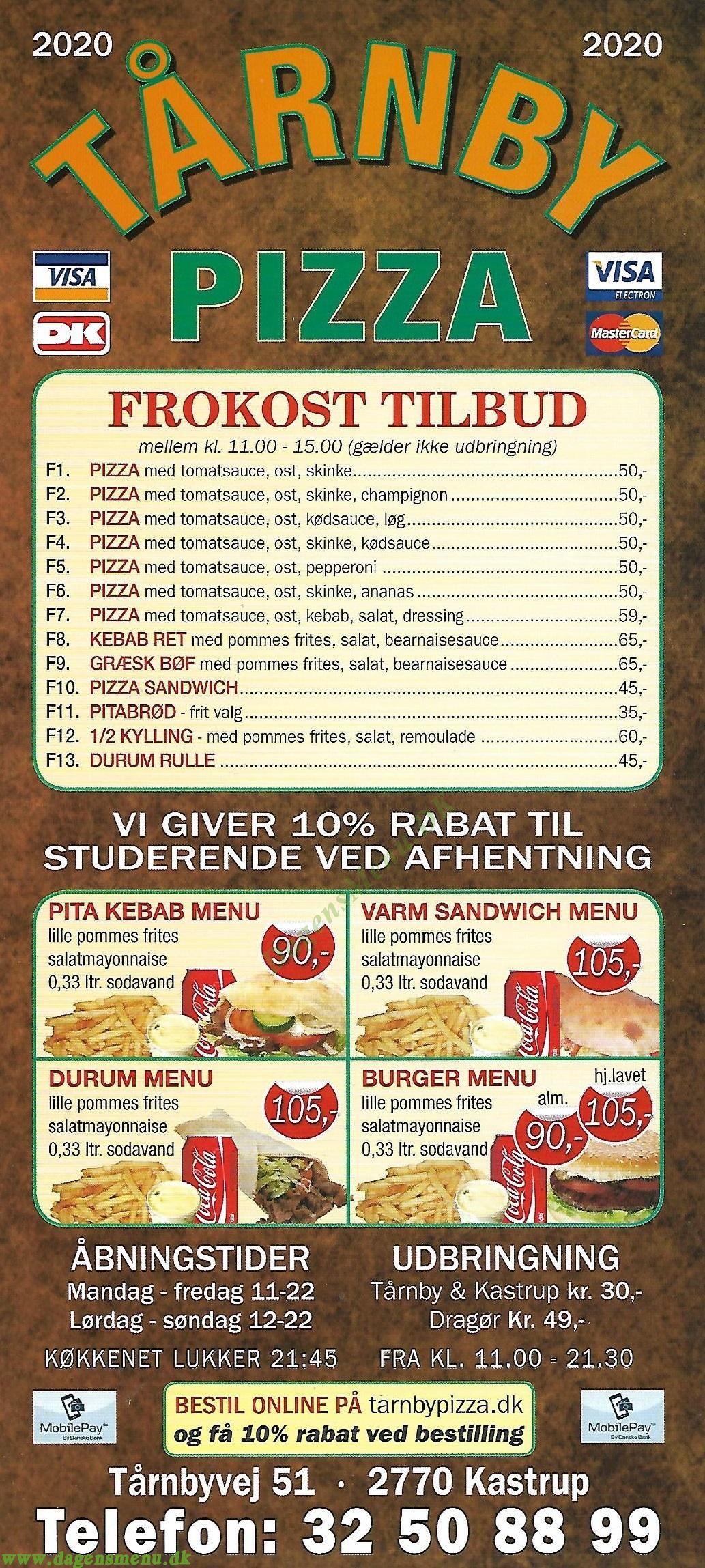 Tårnby Pizza - Menukort