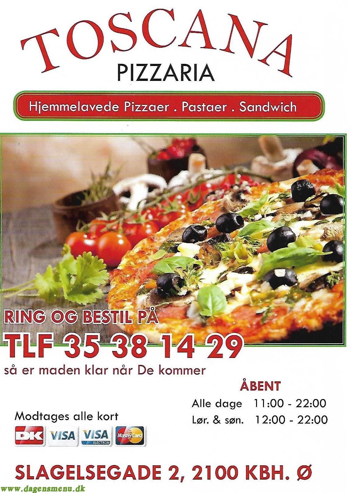 Toscana Pizzeria - Menukort