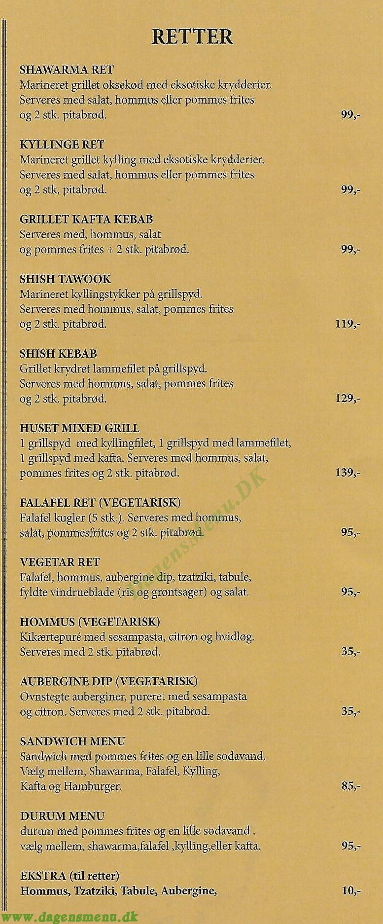 Shawarma Grill-House NO.1 Roskilde - Menukort