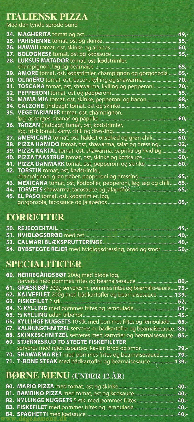 COWBOY PIZZA Høje Tåstrup - Menukort
