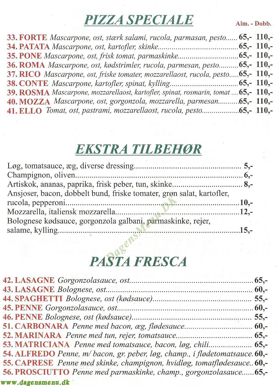 PIZZA PRONTO - Menukort