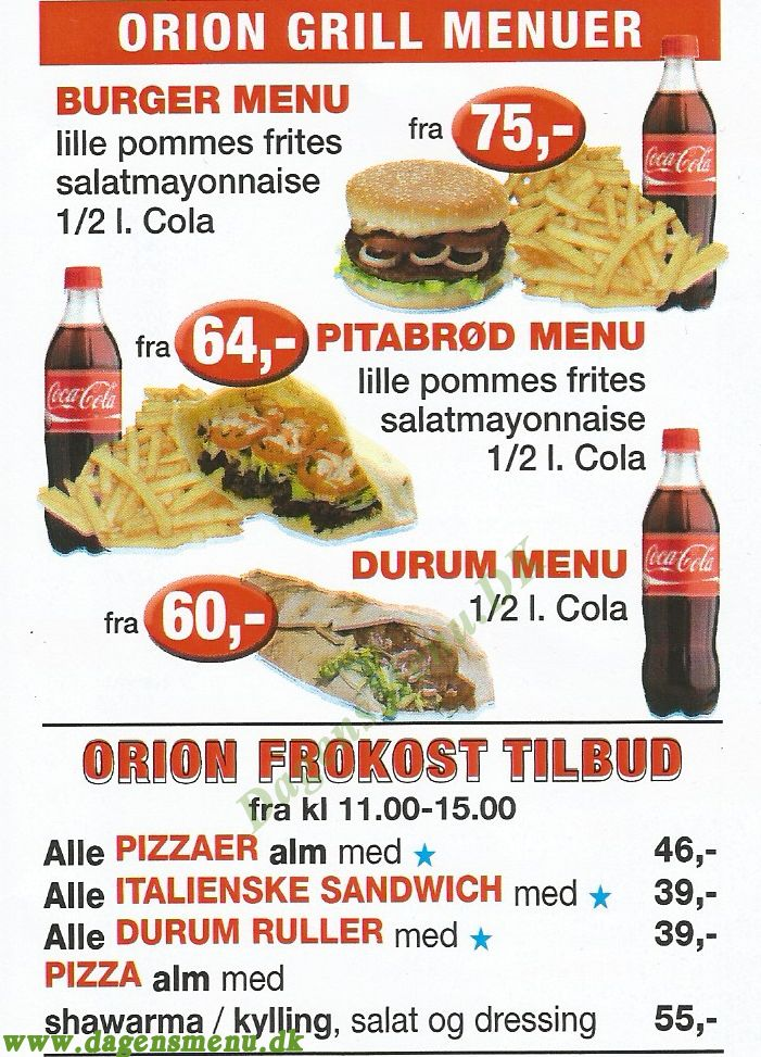 ORION PIZZA GRILLBAR - Menukort
