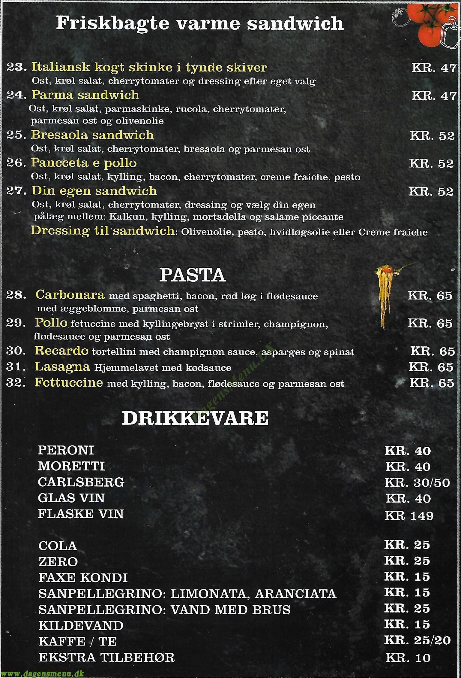 Pizzeria Locale - Menukort