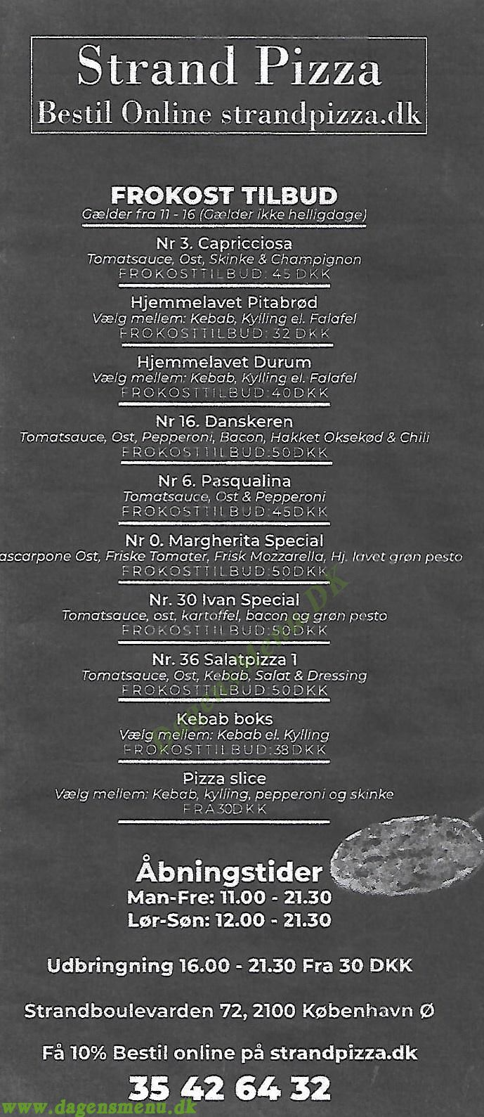 Strand Pizza - Menukort