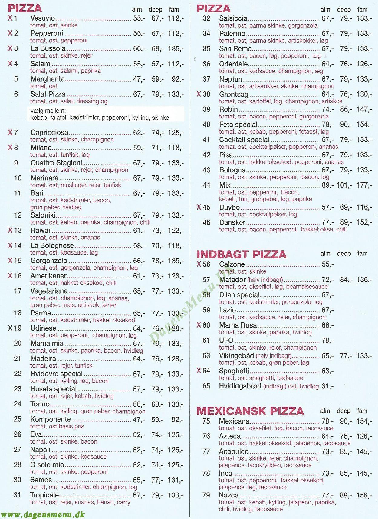 NATTERAVNEN PIZZA - Menukort