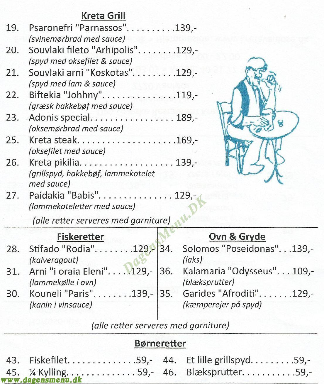 Græsk Restaurant Kreta - Menukort