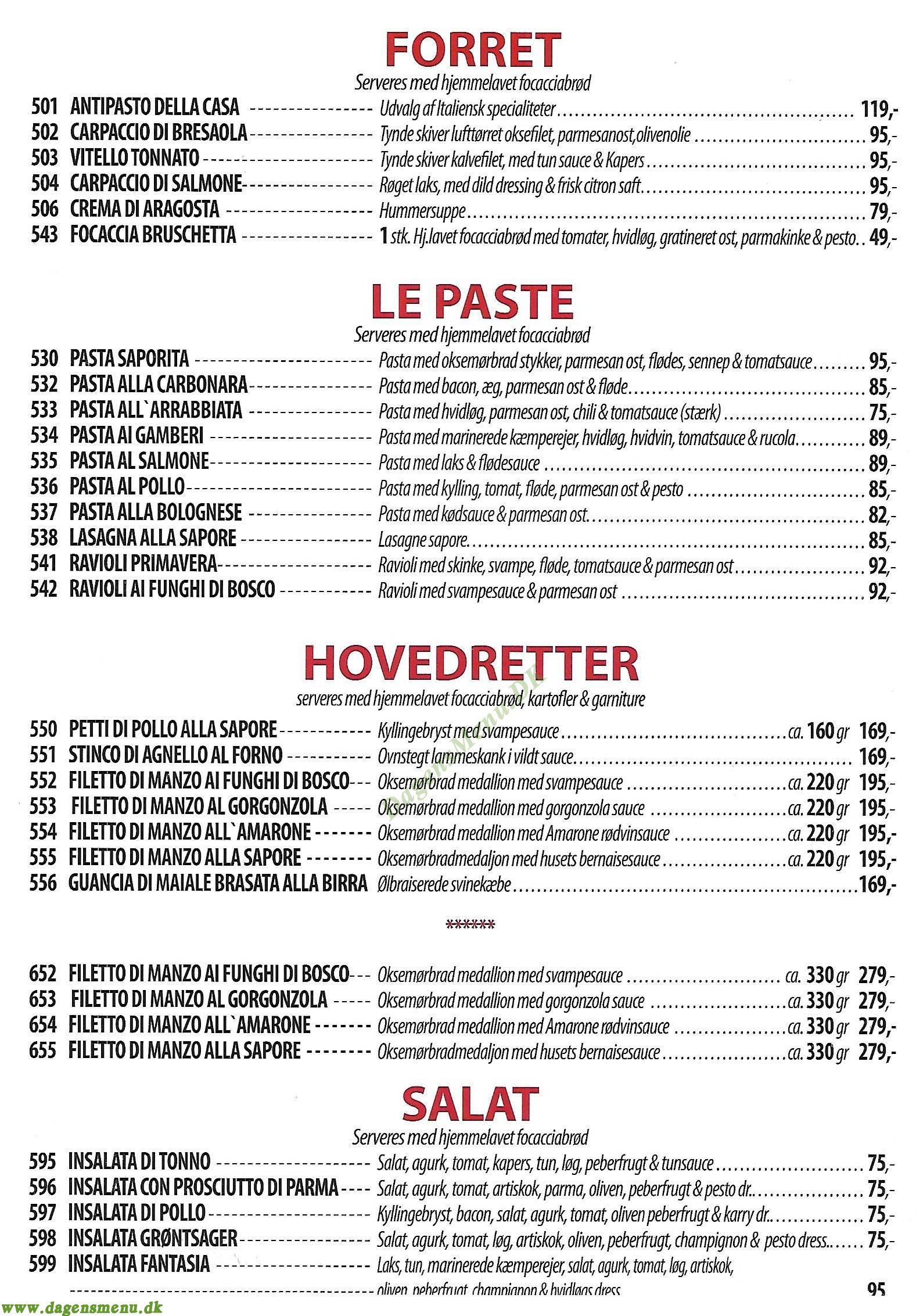 Cafe Sapore - Menukort